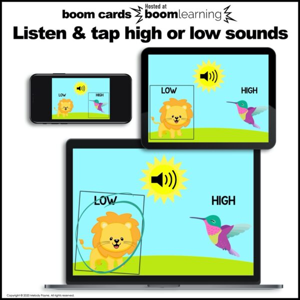 Beginning Piano BOOM Cards: High & Low Sounds by Melody Payne