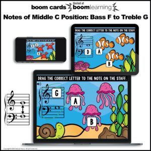 BOOM Cards: Middle C Position Notes on the Grand Staff