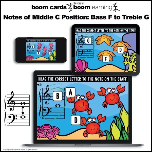 Boom cards for piano: Middle C position by Melody Payne