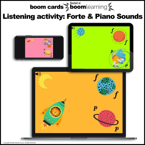 Boom Cards for piano: Forte and Piano in Outer Space by Melody Payne