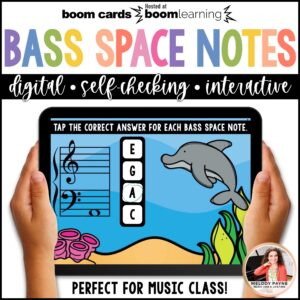 BOOM Cards: Bass Clef Space Notes 100 Note Challenge!
