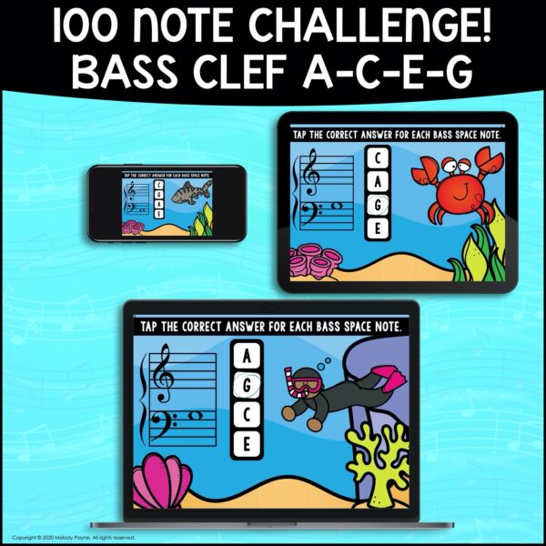 BOOM Cards: Bass Clef Space Notes 100 Note Challenge! by Melody Payne