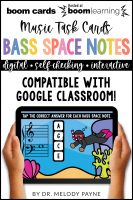 BOOM Cards: Bass Clef Space Notes 100 Note Challenge by Melody Payne