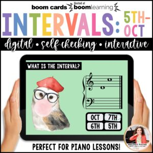 BOOM Cards: Intervals 5ths - Octaves by Melody Payne