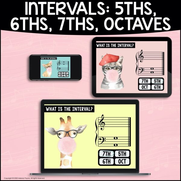 Intervals BOOM Cards: 5ths, 6ths, 7ths, & Octaves by Melody Payne