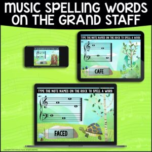 BOOM Cards: Musical Spelling Words on the Grand Staff