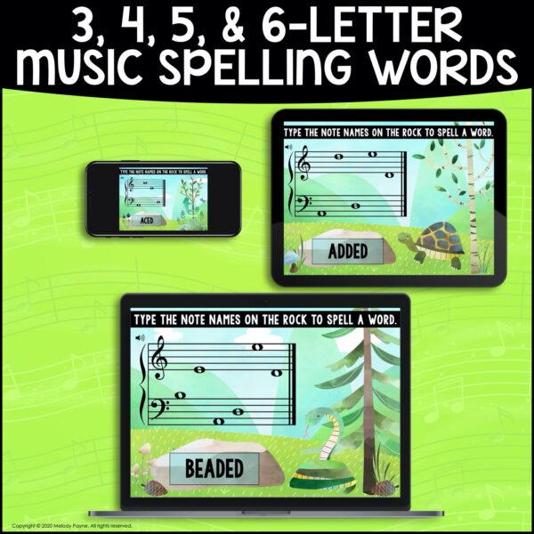 BOOM Cards: Musical Spelling Words on the Grand Staff by Melody Payne