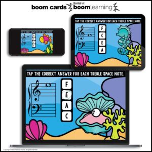 BOOM Cards: Treble Space Notes 100 Note Challenge!