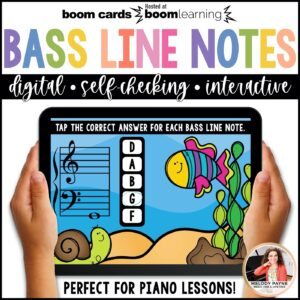 BOOM Cards: Bass Clef Line Notes 100 Note Challenge!