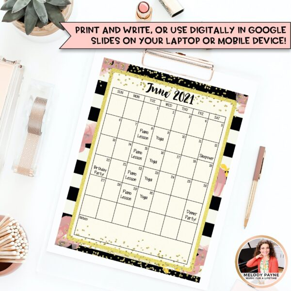 Editable Calendars: Chic & Glam, Portrait & Landscape by Melody Payne www.melodypayne.com/shop