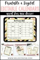 Editable Calendars: Chic & Glam, Portrait & Landscape