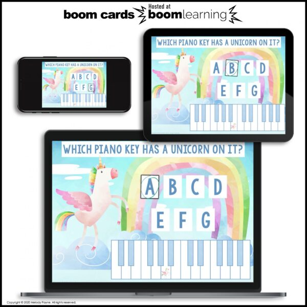 BOOM Cards: White Piano Keys by Melody Payne www.melodypayne.com