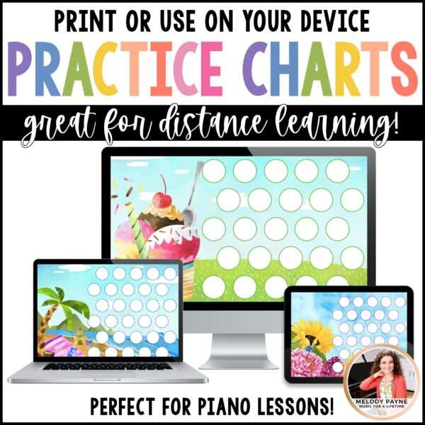 Piano Practice Charts Printable & Digital by Melody Payne www.melodypayne.com
