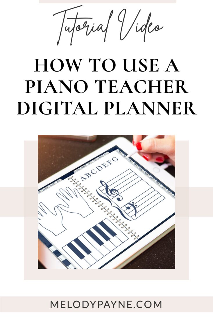 Image of a piano teacher using a digital planner