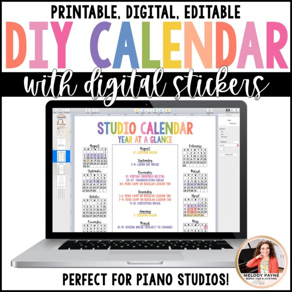 Year at a Glance Single Page Calendar Editable