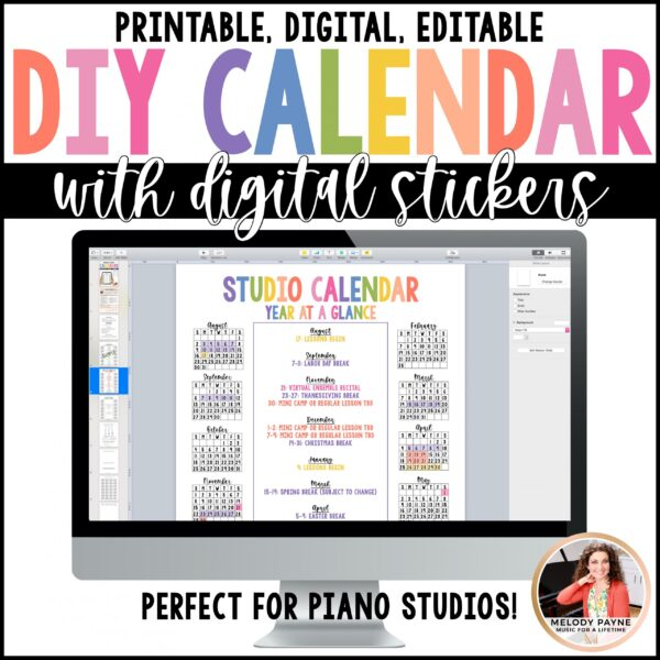 Year at a Glance Single Page Calendar Editable by Melody Payne www.melodypayne.com