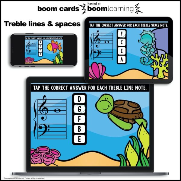 Music BOOM Cards BUNDLE: Treble & Bass Lines & Spaces by Melody Payne