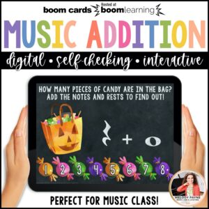 BOOM Cards: Halloween Music Math Addition by Melody Payne