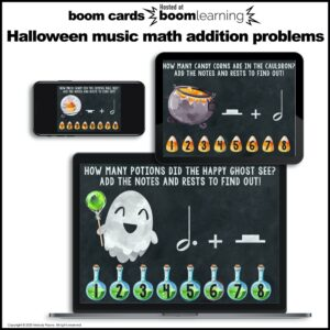 BOOM Cards: Halloween Music Math Addition