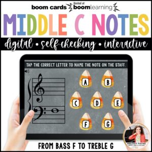 BOOM Cards: Halloween Middle C Position Notes