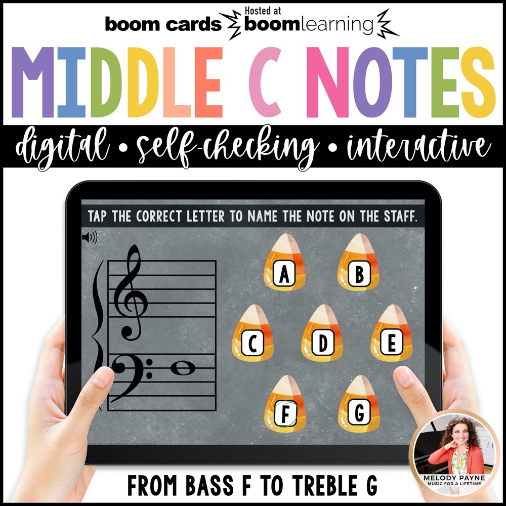 BOOM Cards: Halloween Middle C Position Notes by Melody Payne