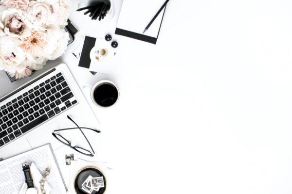 Blush Black and White Styled Desktop Stock Image