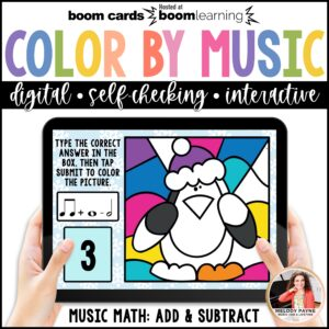 Distance Learning Music BOOM Cards: Color by Music Math Winter Scene
