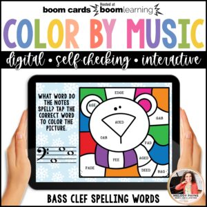 Distance Learning Music BOOM Cards: Color by Bass Clef Notes Winter Scene