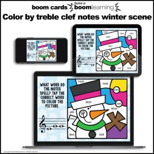 Distance Learning Music BOOM Cards: Color by Treble Clef Notes Winter Scene