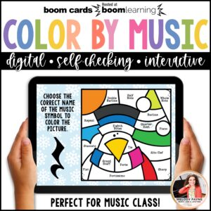 Distance Learning Music BOOM Cards: Color by Music Symbols Winter Scene