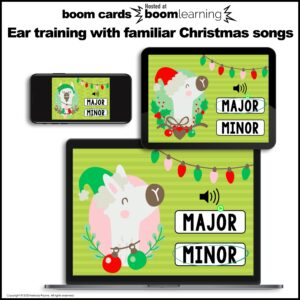 Distance Learning Music BOOM Cards: Christmas Ear Training Major and Minor