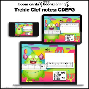 Music BOOM Cards: Treble Clef CDEFG Sight-Reading and Ear Training
