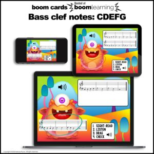 Music BOOM Cards: Bass Clef CDEFG Sight-Reading and Ear Training