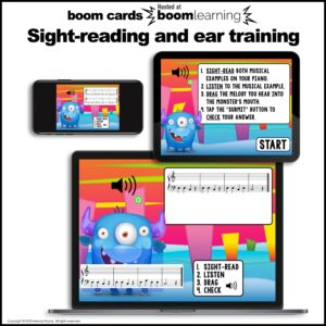 Music BOOM Cards: Bass Space Notes ACEG Sight-Reading and Ear Training