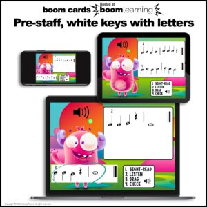 Music BOOM Cards: Pre-Staff Piano High and Low Sight-Reading and Ear Training