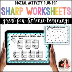 Distance Learning Digital Worksheets for Elementary Music Students: Sharp Week!