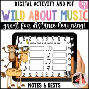 Distance Learning Digital Music Worksheets: Wild About Music Note & Rest Values