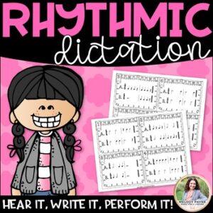 Rhythmic Dictation for Elementary Music Students {Rhythm Cards & Slides in 4/4}
