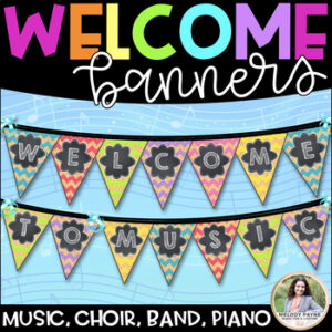 Welcome to Music! Piano! Choir! Band! Welcome Banner {Chalkboard, Chevron, Cork}