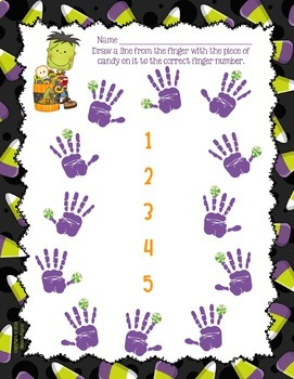 Halloween Finger Numbers & Hands Worksheets for Beginning Piano Students