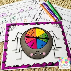 Spider Rhythm Spinners for Elementary Music Students {Color and Ink-Friendly}