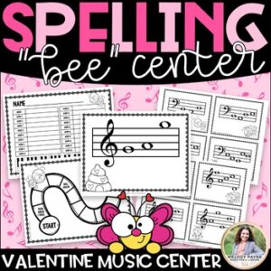 Valentine's Day Music Spelling Bee Activity Center {Color and Ink-Friendly}