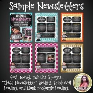 Newsletter Templates {Chalkboard Style Editable Monthly Templates}
