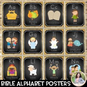 Bible Alphabet Posters {74 Chalkboard Style Pages}