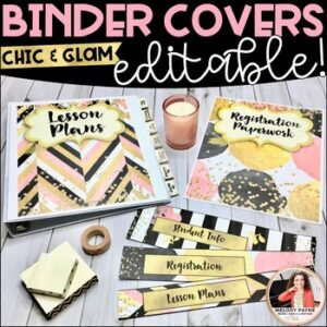 EDITABLE Binder Covers, Spines, & Tabs {Chic & Glam Design}
