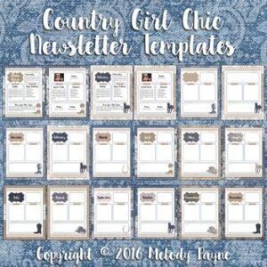 Editable Newsletter Templates {Denim, Lace, Burlap, Horses, Cowboy Boots}