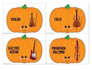 Musical Instrument Matching {151 Pumpkin-Themed Musical Instrument Puzzles}