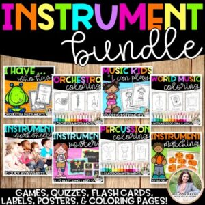 Musical Instruments BUNDLE! {Posters, Labels, Quizzes, Coloring Sheets, Games!}
