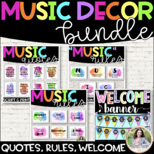 Watercolor Music Decor BUNDLE! {Posters, Symbols, Instruments, Rules, & More!}