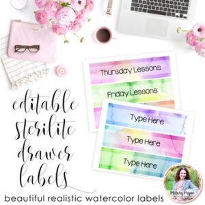 Watercolor Sterilite Drawer Labels – Editable